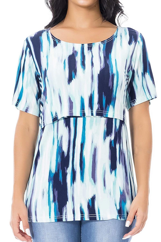 Smallshow Womens Nursing Tops Short Sleeve Layered Design Breastfeeding Shirts