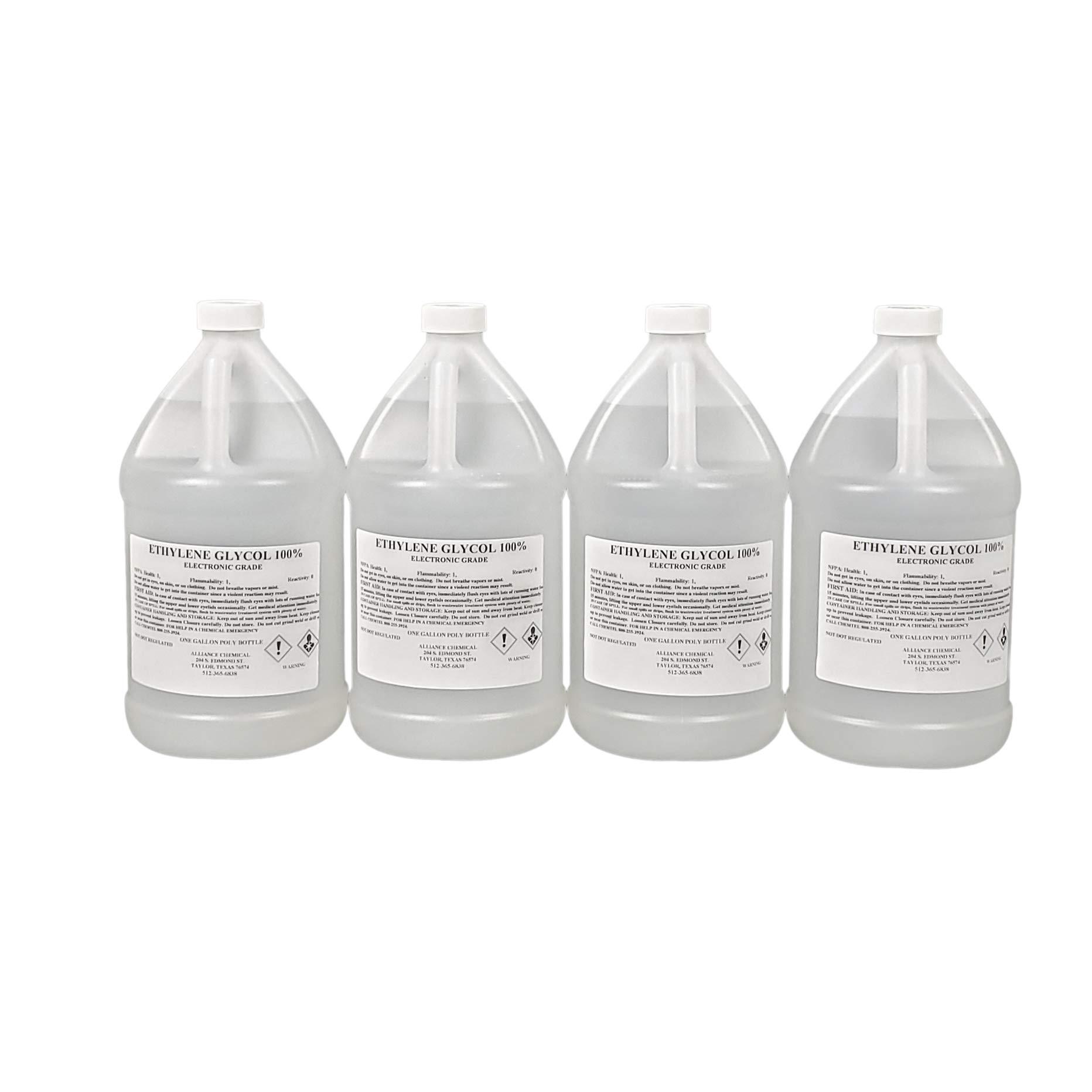 Ethylene Glycol 100% Electronic Grade -4 single gallon bottles per case