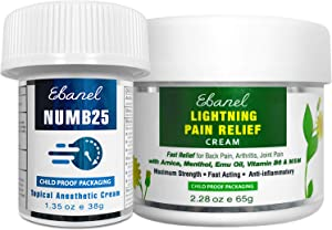 Ebanel Bundle of Numb25 Lidocaine 5% Topical Numbing Cream 1 Oz, and Pain Relief Cream Arnica Menthol 2.28 Oz