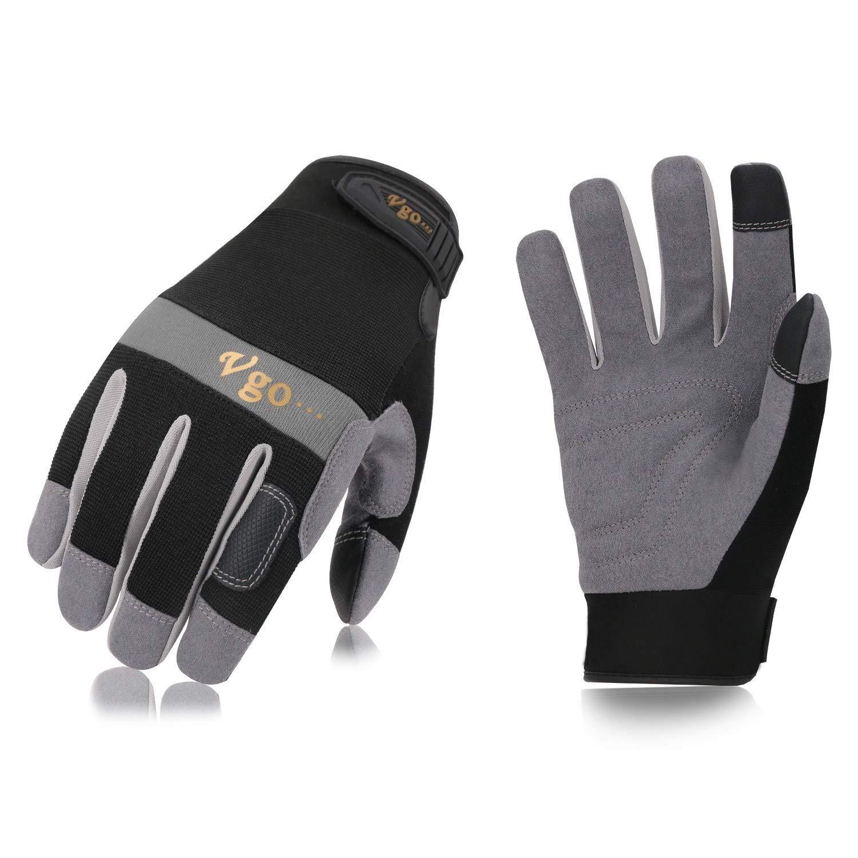 Vgo。。。合成レザー作業手袋3ペア、ブラック/蛍光グリーン/オレンジ、サイズ8 / M, 9 / L、10 / XL) ブラック B077WVG6QC