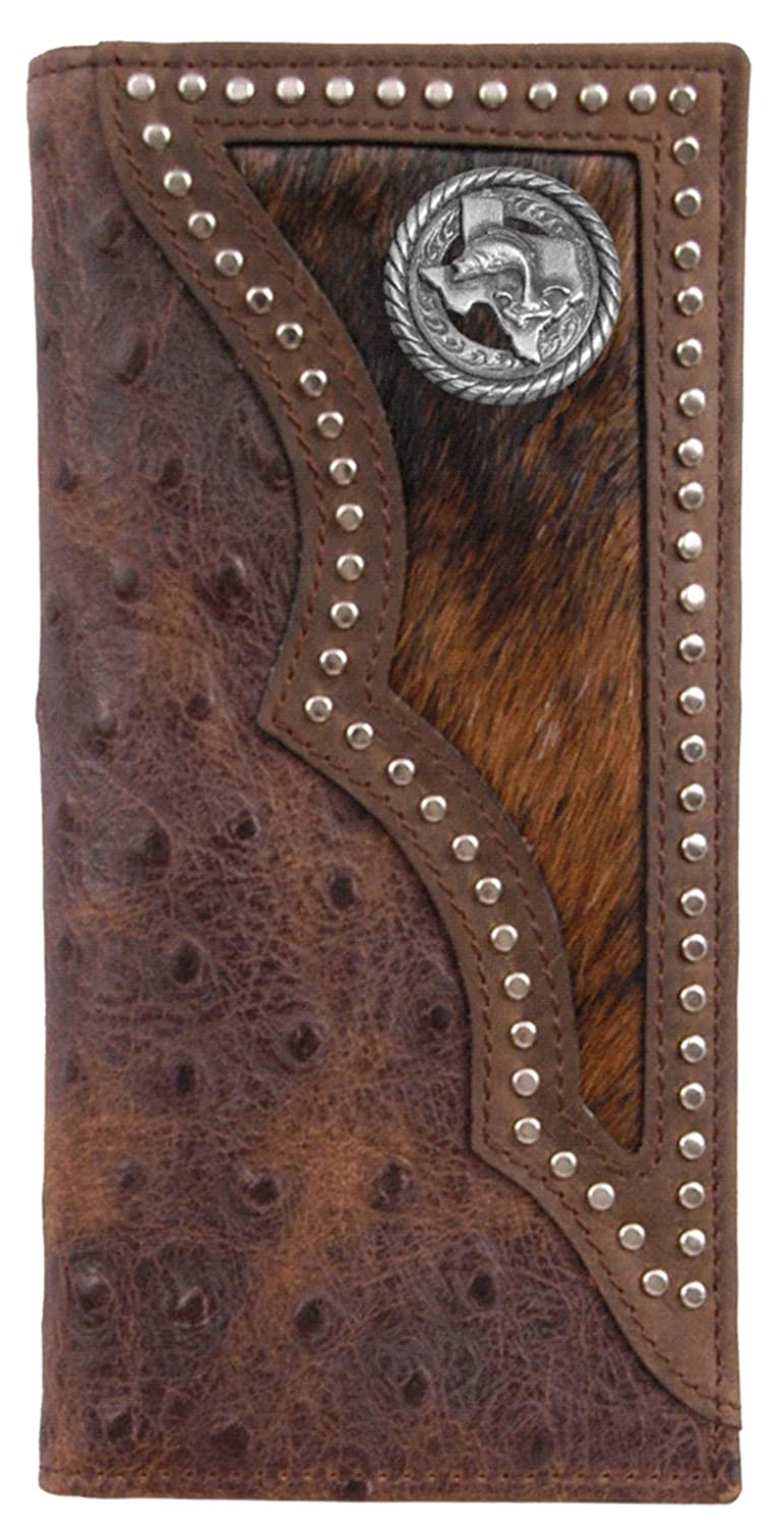 Custom Texas Bass Fishin Long Ostrich print wallet with hair and hide inlay