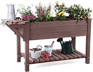 "Raised Garden Bed, Elevated Plant Boxes Outdoor Large with Grow Grid - with Large Storage Shelf 52.7"" x 22"" x 30"""