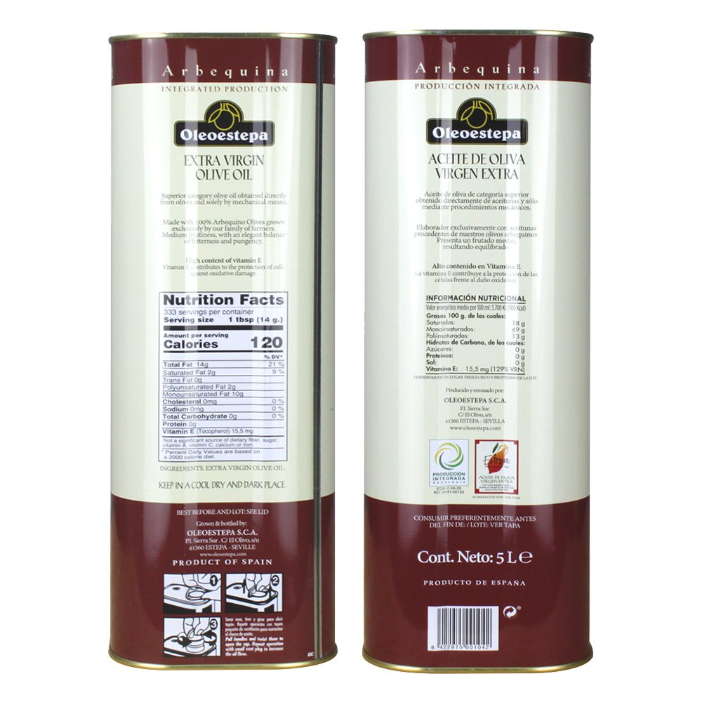 Amazon.com : Oleoestepa Arbequina 5L Tin Spanish Extra Virgin Olive Oil 5 Liters (169 oz) : Grocery & Gourmet Food