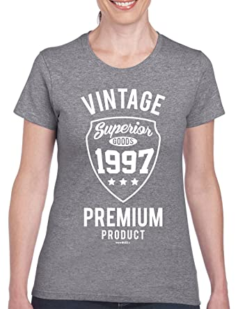 21st Birthday Gifts For Women Vintage Premium 1997 T Shirt Grey Small