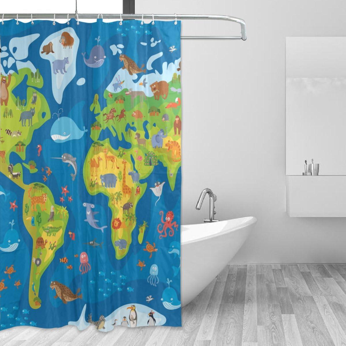 World Map Pattern Design Bathroom Polyester Shower Curtain Waterproof 12 Hooks