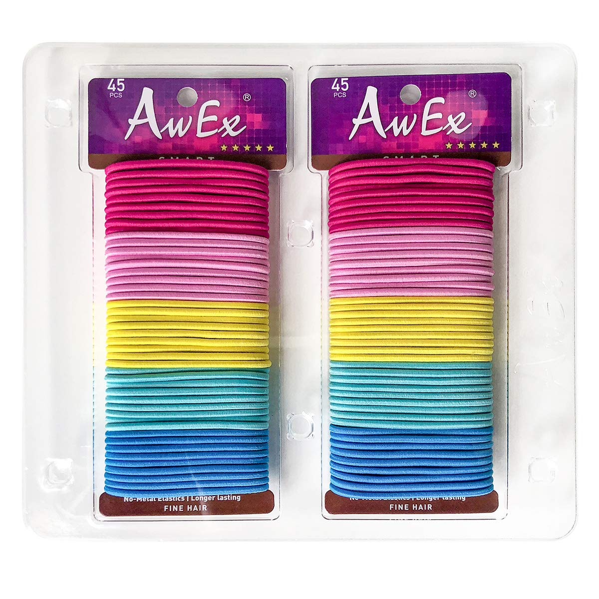 AwEx Color Hair Ties,90 PCS, 3 mm THIN Hair Bands for FINE Hair,No Metal Hair Elastics,Colorful Ponytail Holders