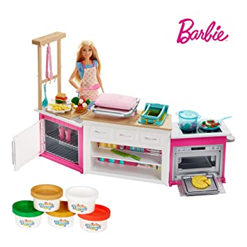 Barbie Frh73 Careers Ultimate Kitchen With Doll Playdough Cooking Baking Toy For 4 To 9 Years Children Playset Multi Colour