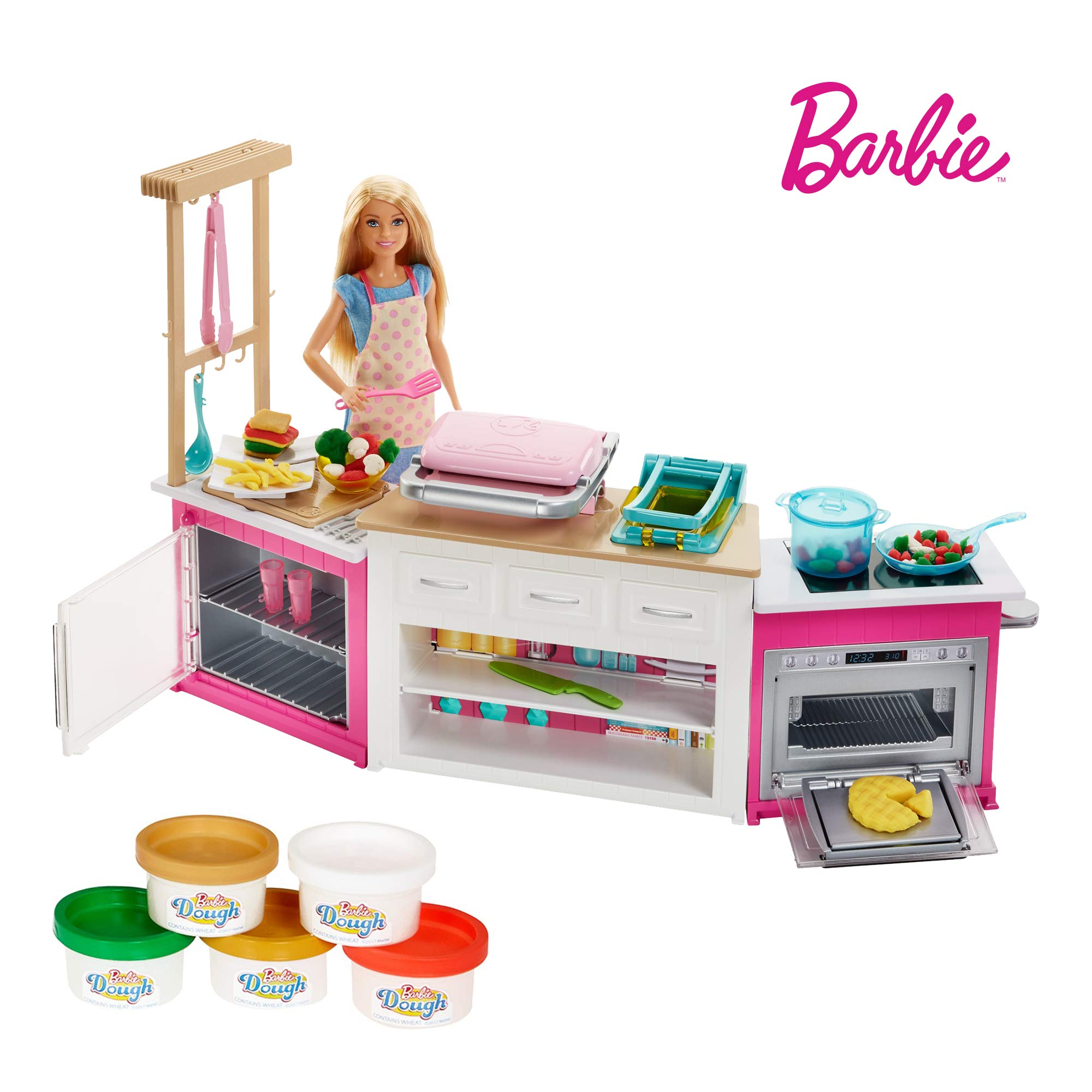 Barbie Métiers Coffret poupée cheffe avec kit cuisine Comprenant Four, Accessoires pour Repas et cinq Pots de pâte à Modeler, Jouet pour Enfant, FRH73 product image