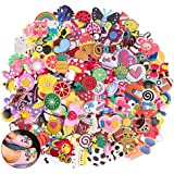 Efivs Arts 50pcs Random Shape Shoes Charms Fits for Clog Shoes & Wristband Bracelet Party Supplies Birthday Gifts Back…