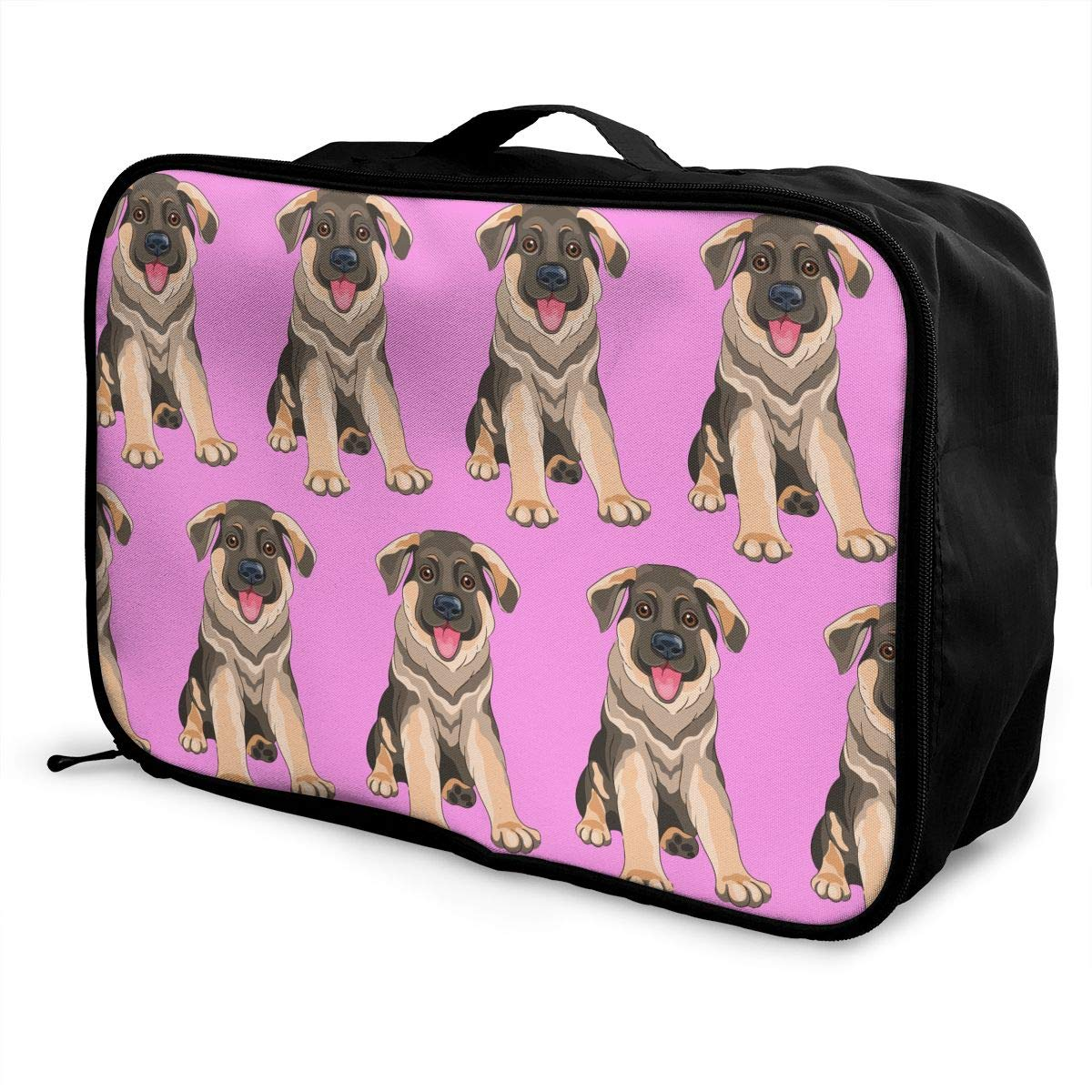 YueLJB German Shepherd Puppy Dog Lightweight Large Capacity Portable Luggage Bag Travel Duffel Bag Storage Carry Luggage Duffle Tote Bag