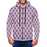 Purple Lavender Argyle Plaid Mens Hoodies Long Sleeve Full Zip Hooded Jacket Pullover Boys Running