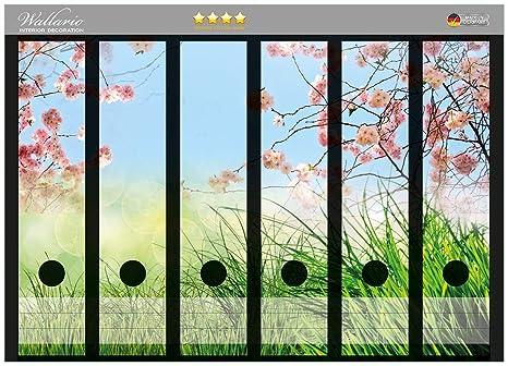 Archivadores diseño de flor de cerezo ramas y prado verde - primavera en alta calidad -