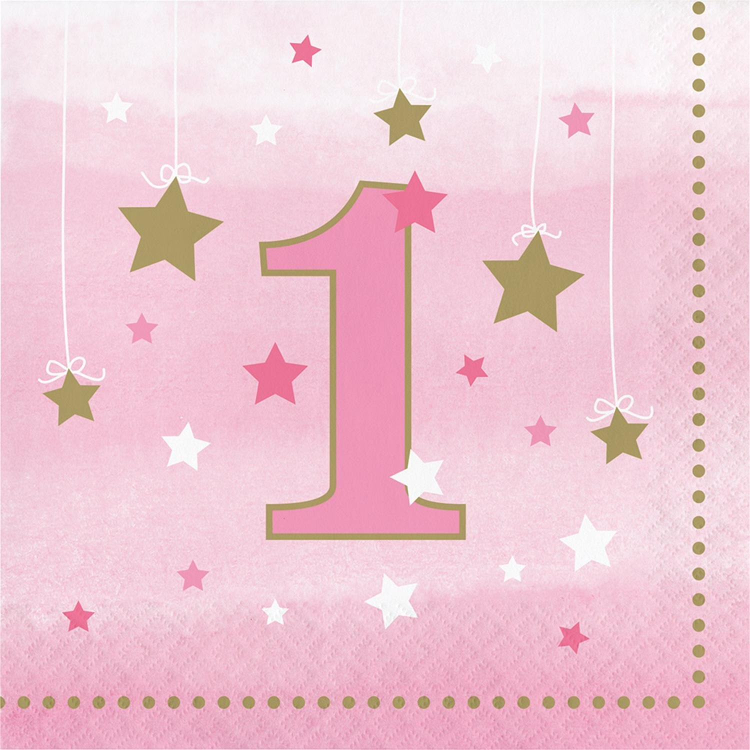Club Pack of 192ピンクとゴールドOne Little Star Girl Luncheon Napkins 5