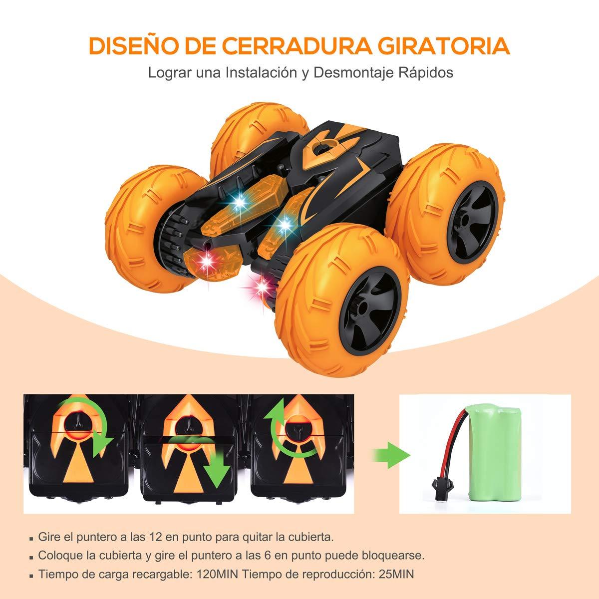 VAZILLIO RC Stunt Coche 2.4GHz LED Stunt Coche Teledirigido 3.7V 1000mAh 360 Grados Rotaci/ón de Alta Velocidad Coches Regalos para Ni/ños Adulto Naranja
