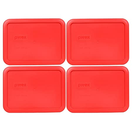 Pyrex 7210-PC Rectangle 3 Cup Storage Lid Cover Orange for Glass Dish 4 Pack