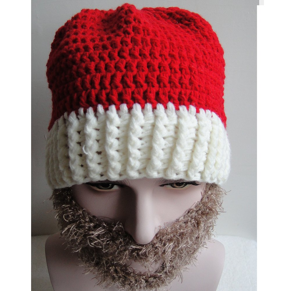 Hanib Christmas Santa Claus Handmade Crochet Knit Hat Detachable