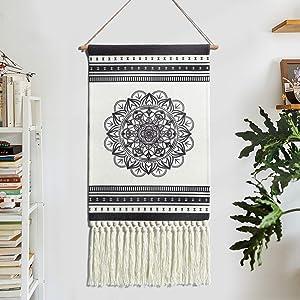 LOMOHOO Macrame Woven Tapestry Mandala Woven Bohemian Tapestries Wall Hanging Dark Gray Bohemian Geometric Art Boho Wall Decor with Tassels for Home Apartment Bedroom (Mandala)