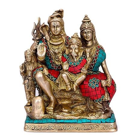Amazoncom Craftvatika Hindu God Shiva Family Statue Shiva Parvati