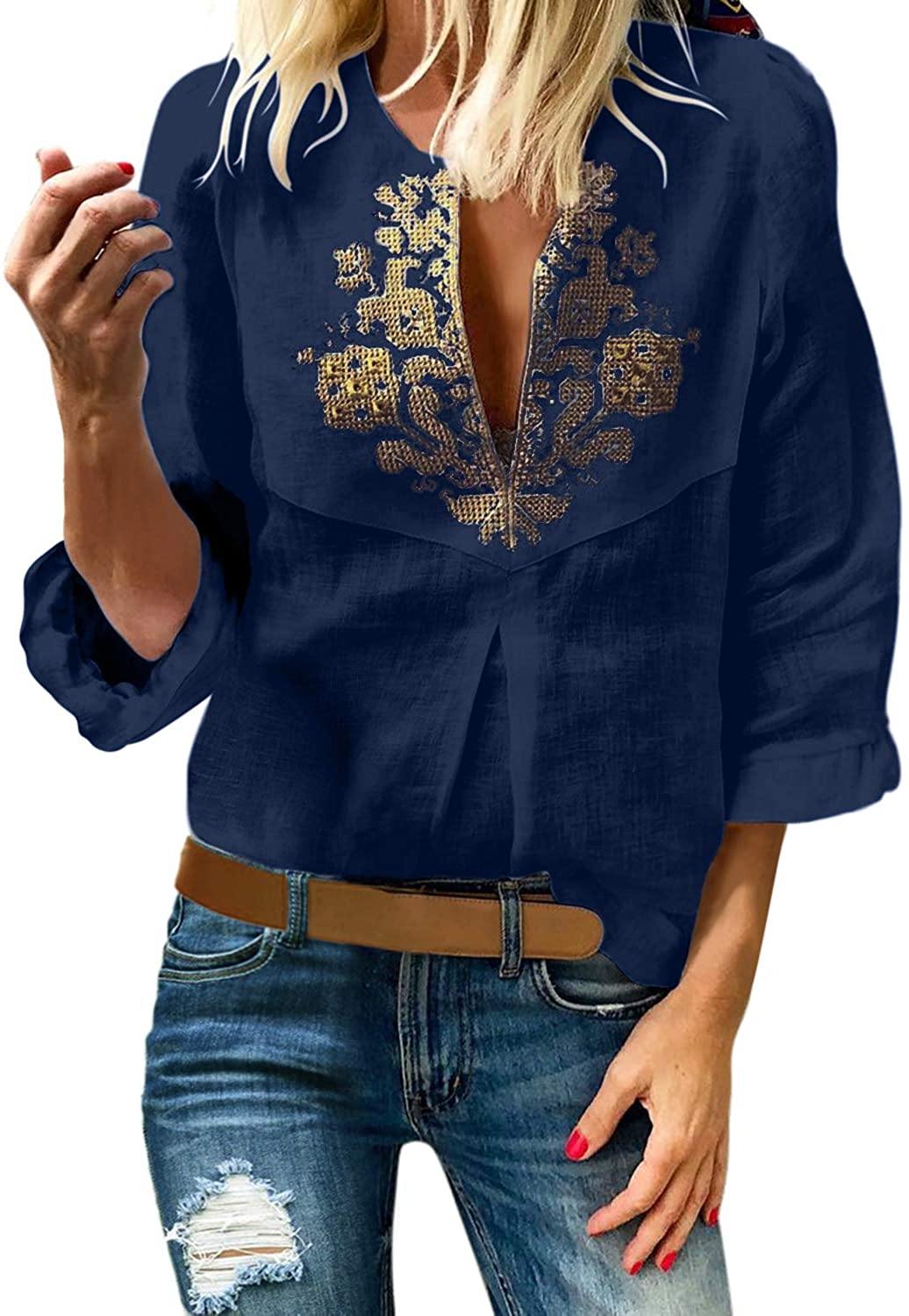 Aleumdr Womens Fashion Boho Embroidered V Neck Long Sleeve Blouses Casual Tunic Tops Blue X-Large 16 18
