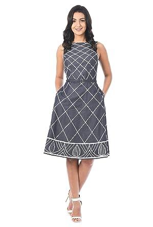 0a859331a07 eShakti FX Embellished Cotton Chambray Belted Dress Deep Indigo White at Amazon  Women s Clothing store