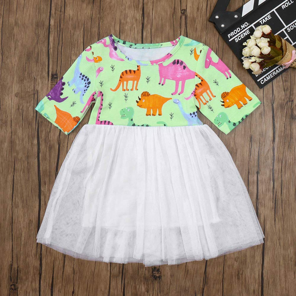 MITIY Baby Girls Infant Kids Dinosaur Print Dress Clothes Tutu Casual Sundress Dresses