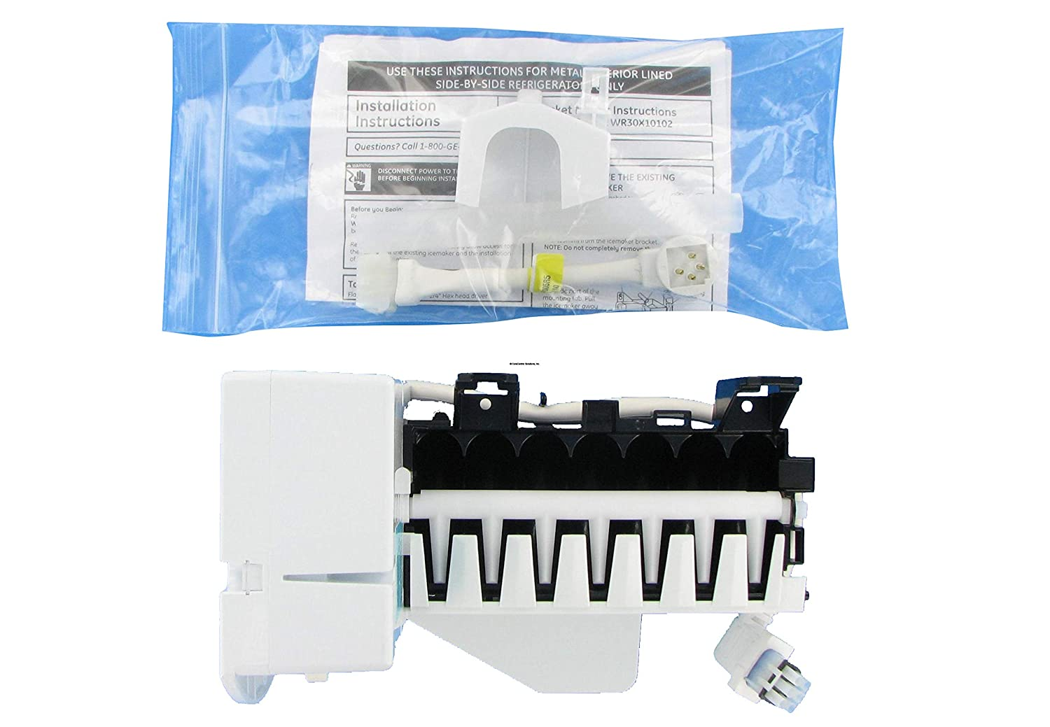 GE/Hotpoint/Kenmore Wr30X10093 Refrigerator Ice Maker Assembly Kit (Renewed)