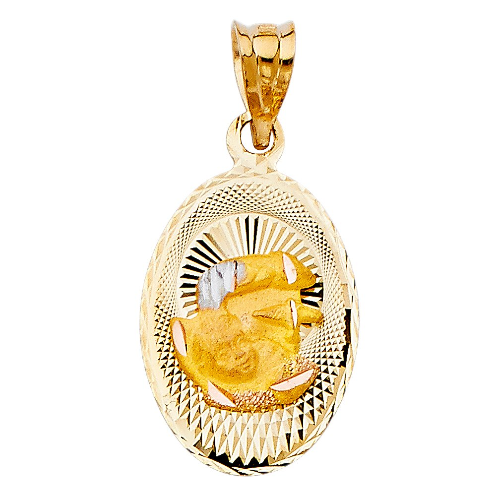 14k Tri Color Gold DC Baptium Stamp Religious Pendant Charm