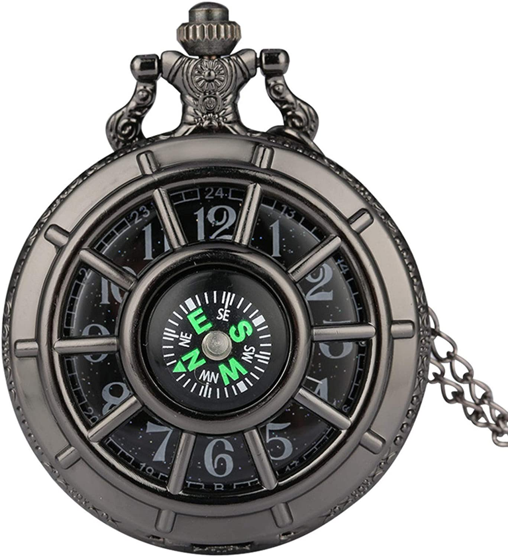 ZHAOXIANGXIANG Reloj De Bolsillo Retro,Brújula Diseño Vintage Esqueleto Hueco Reloj De Bolsillo Estrellado Esfera Redonda Reloj Colgante Antiguo Retro Regalos Hombres Mujeres