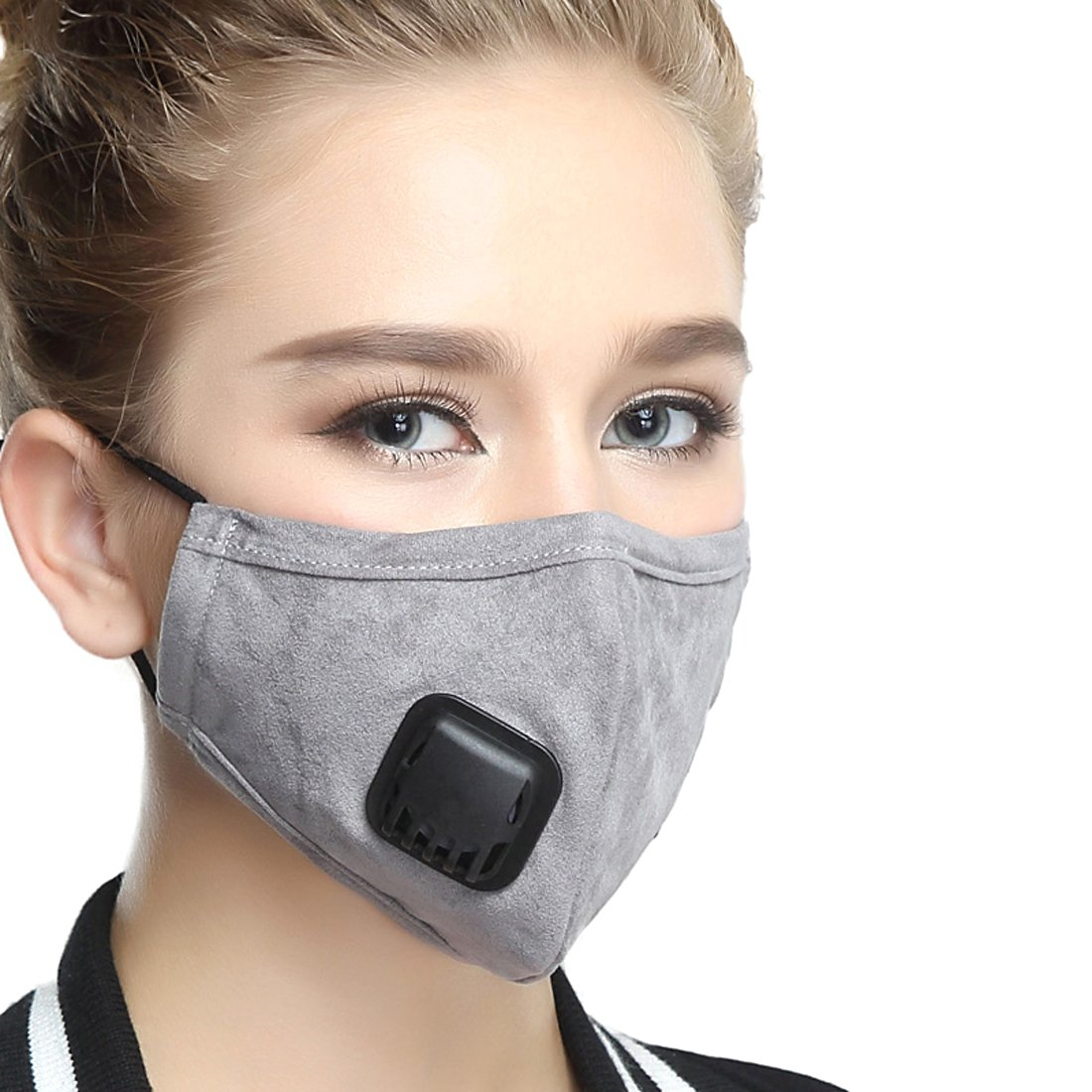 Healthyair Masks PM 2.5 Anti Pollution Mask with Valve Pynogeez Washable Dust Respirator Cotton Mouth Masks with Replaceable 5 Layer Filter (Mask + 2 Filters) (Grey, Medium(Women's))
