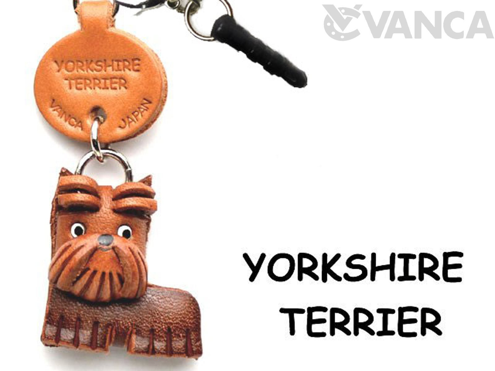 Yorkshire Terrier Leather Dog Earphone Jack Accessory / Dust Plug / Ear Cap / Ear Jack *VANCA* Made in Japan #47767