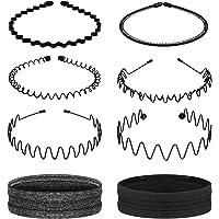 Lurrose 6pcs Metal Hair Band for Men Women Comb Headbands&2pcs Sport Headbands Sweatband Unisex Hair Bands Wavy Hair…