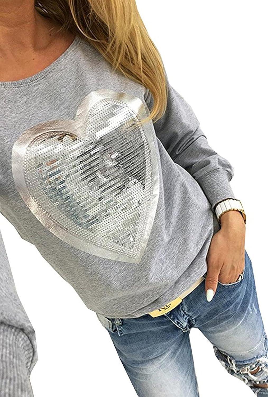 OUFour Femmes /à Manches Longues en Forme de Coeur Paillettes Casual T-Shirt Blouse Haut Pulls Tops Chemisier