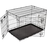 Dog Puppy Cage Folding 2 Door Crate with Plastic Tray Small 24-inch Black (Small)