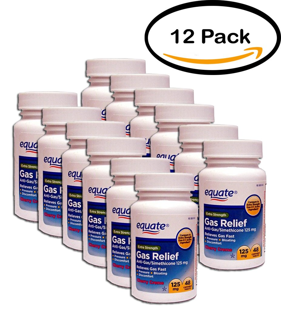 PACK OF 12 - Equate Extra Strength Gas Relief Anti-Gas/Simethicone Chewable Tablets, 125 mg, Cherry Creme, 48 Ct