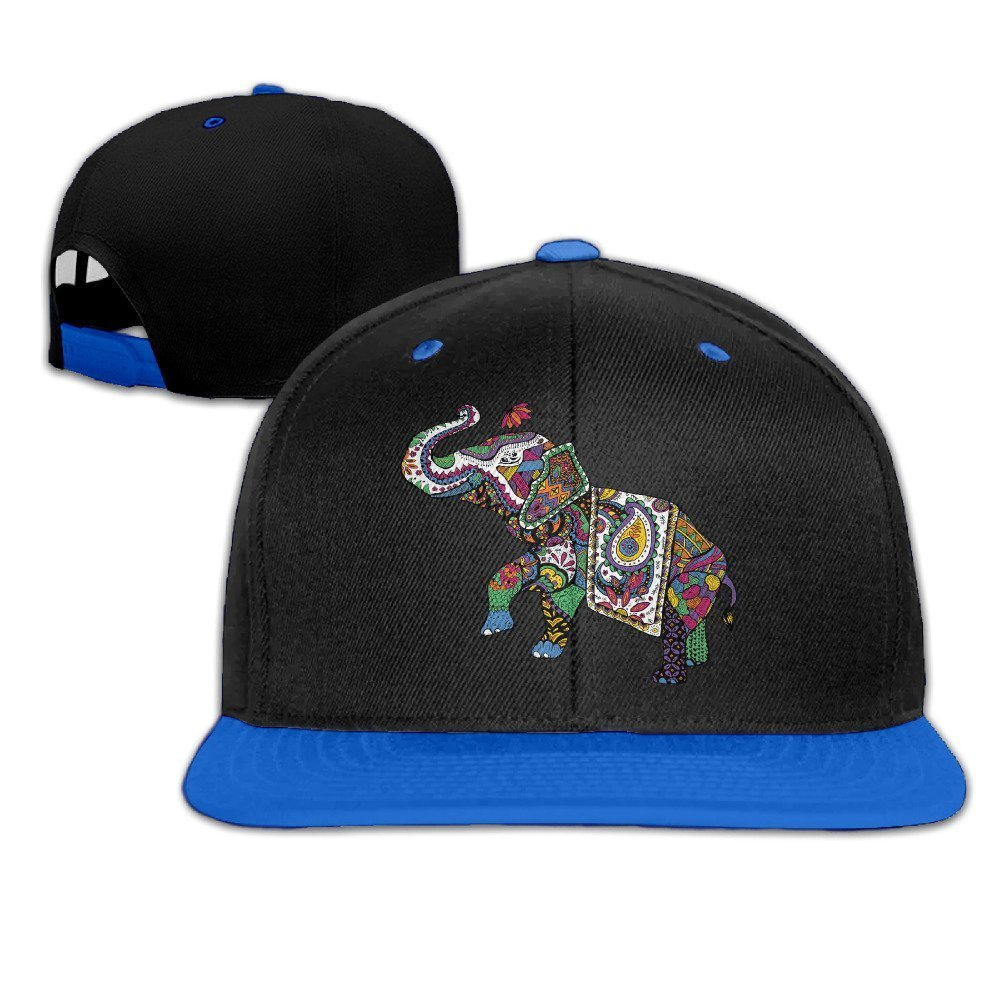 Colorful India Treasure Elephant Hip-Hop Cotton Hats Sports Snapback White