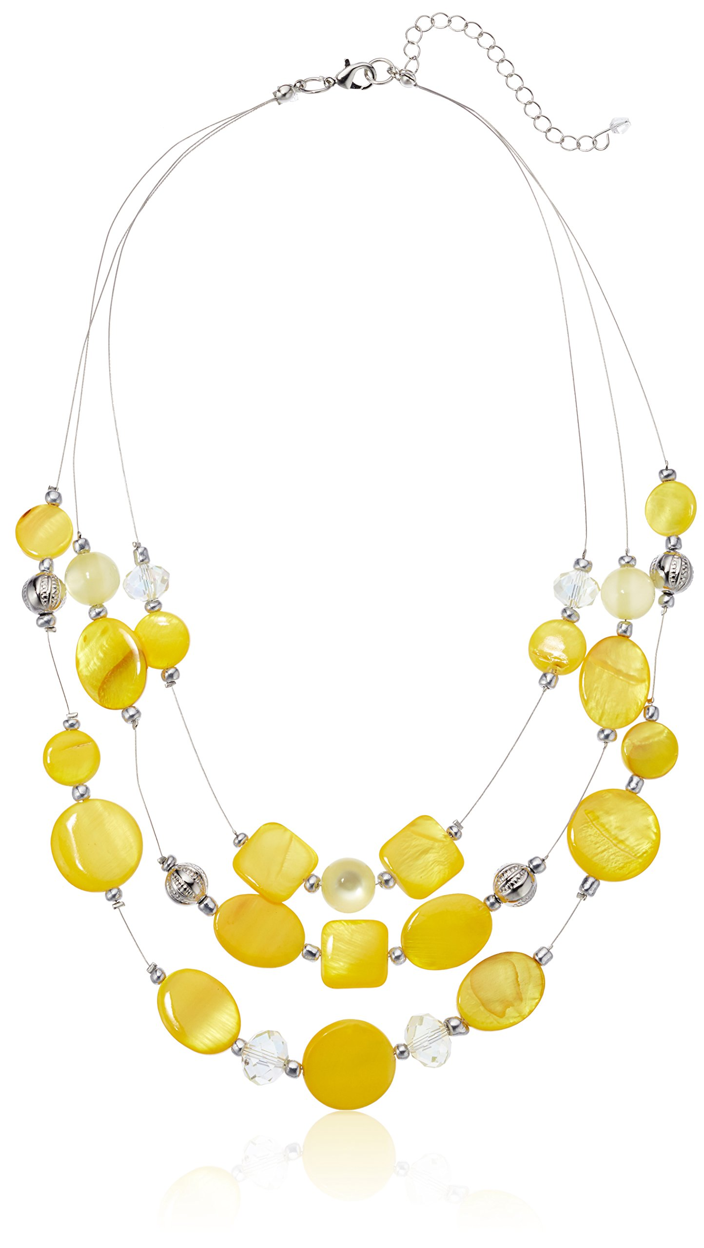 Womens Yellow Illusion Necklace, 18'' + 3'' Extender by Amazon Collection (Image #2)