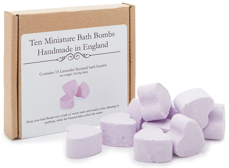 Bath Bomb Gift Set - Bath Fizzers, 10 mini heart shaped handmade Lemon Scented bath bombs in a gift box. Smart Fox