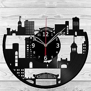 Vinyl Clock - Chattanooga Skyline - Vinyl Art Home Decor - Black Clock 12