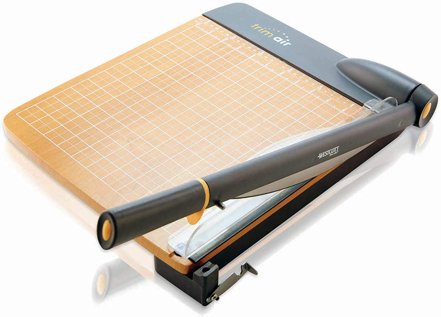 Westcott ACM15106 TrimAir Titanium Wood Guillotine Paper Trimmer with Anti-Microbial Protection, 12