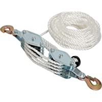 4000LB 2 Ton 65 Feet of 3/8″ - Poly Rope Hoist Pulley Block - 7:1 Lifting Power