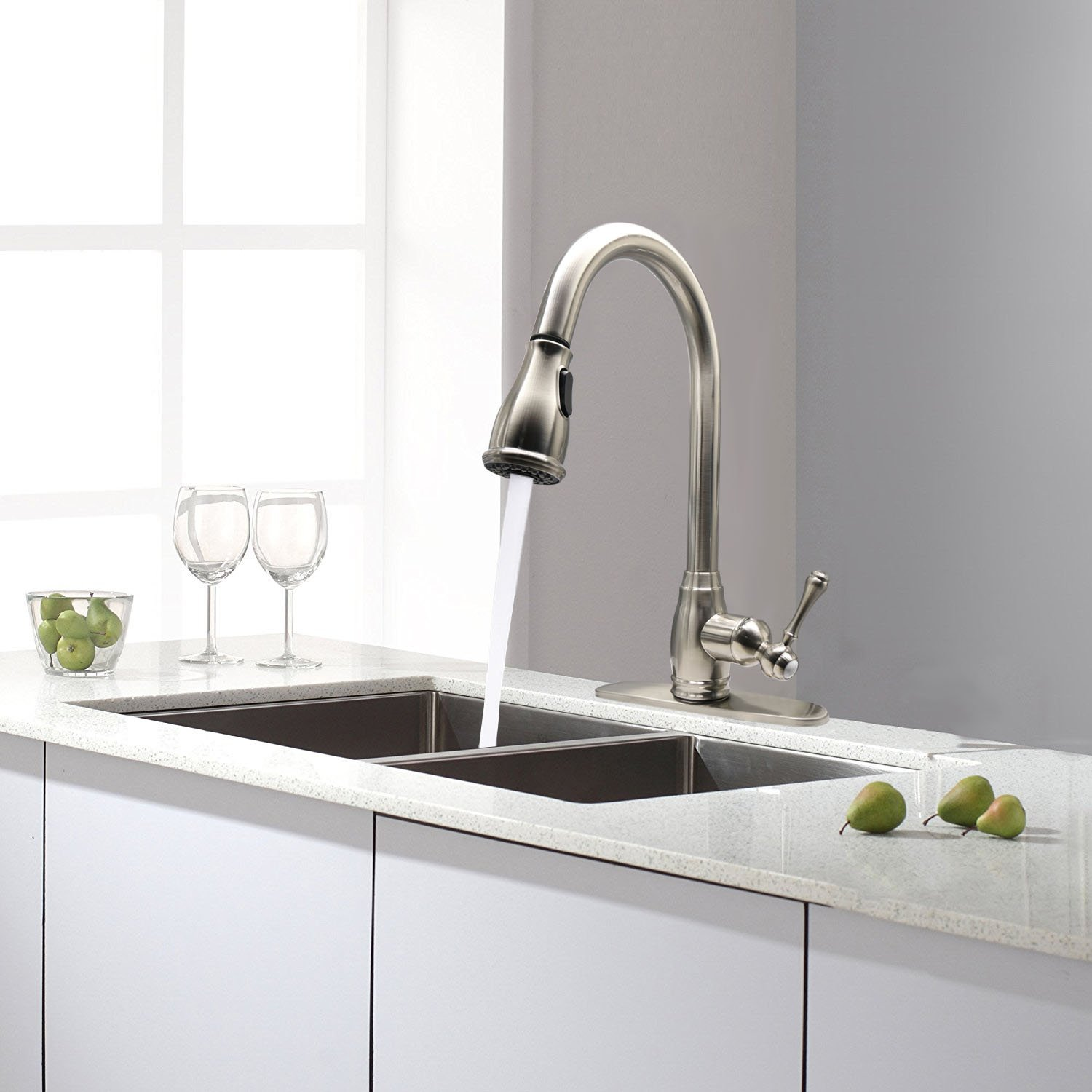 Brushed Nickel High-Arch Bar Best Commercial KINFAUCETS Kitchen Sink Faucet 360 Degree Swivel Spout Pull Out Sprayer Stainless Steel Vanity Bathroom Lavatory Single Handle