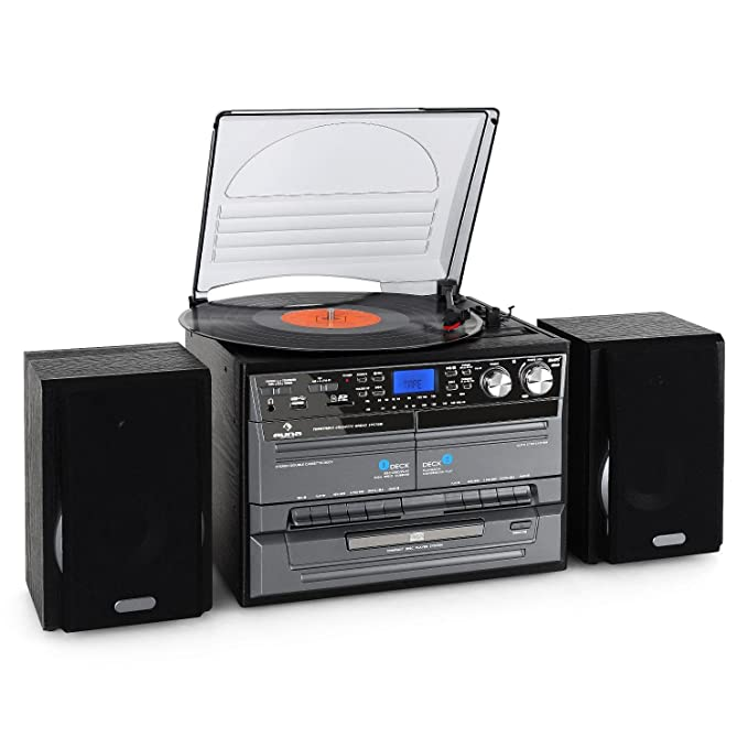 Amazon.com: Auna tc-386we Retro Hi-Fi estéreo (Twin Tape ...