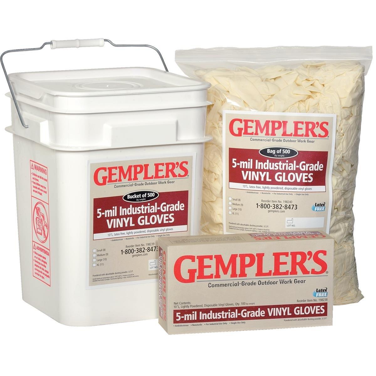 Gempler's 198239 5 Mil Vinyl Gloves, Size Large, Bucket Of 500 by GEMPLER'S