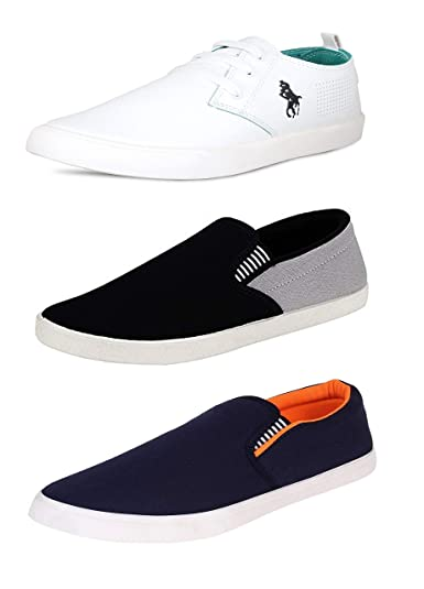 67503a682a3 BERLOC Combo Pack of Men s Casual White Sneakers   Loafers  Buy ...