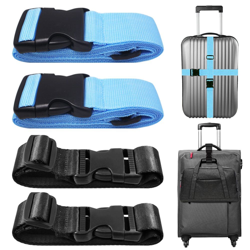 4 PCS Add a Bag Luggage Strap, AFUNTA Adjustable Travel Suitcase Belt Attachment Accessories for Connect Your Three Luggage Together - Black/Brown AF-luggage_strap_2