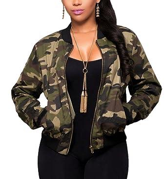 Sanyouletoo Damen Camouflage Jacke Blouson Fliegerjacke Army