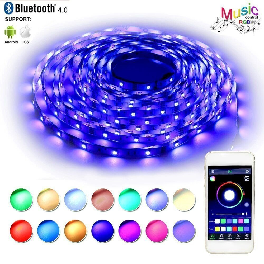 LED Strip Lights, led bluetooth light strip, BAILONGJU LED lights that sync with music 32.8ft 300leds 10m Non-Waterproof RGB Color Changing SMD 5050 Adhesive Light Strips with Bluetooth Smartphone App