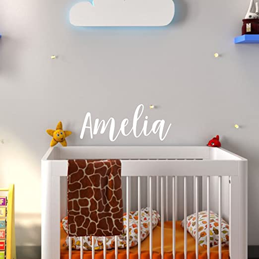 Safe on Walls /& Paint Anti-Glare Large Matte Vinyl Monogram Lettering Handmade to Order Made in USA Personalized Custom Name Wall Decal for Baby Girl Nursery Room