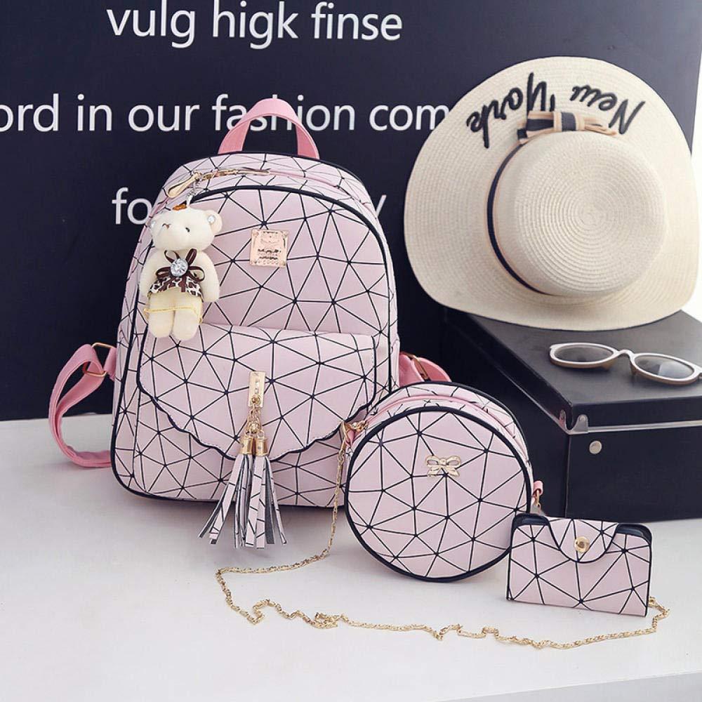 AQGELSJB Koreanische Frauen Rucksack Plaid Rucksack Mode Kind Student Tasche Weiß
