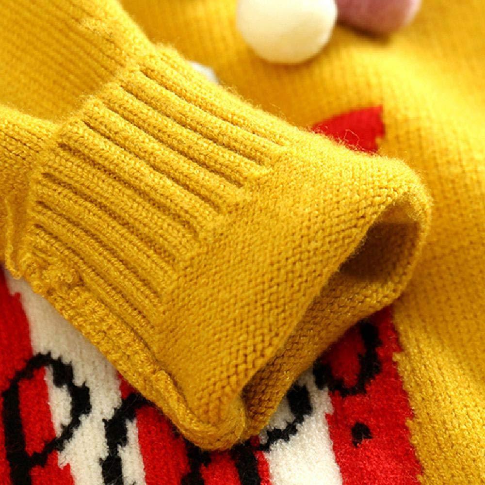 BCVHGD Winter Kids Girls Sweaters Popcorn Design Knitted Pullover Casual Toddler Tops Woolen Fleece Sweater